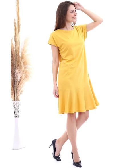 Cotton Mood 20063126 Süprem Eteği Volanlı Kısa Kol Elbise Hardal