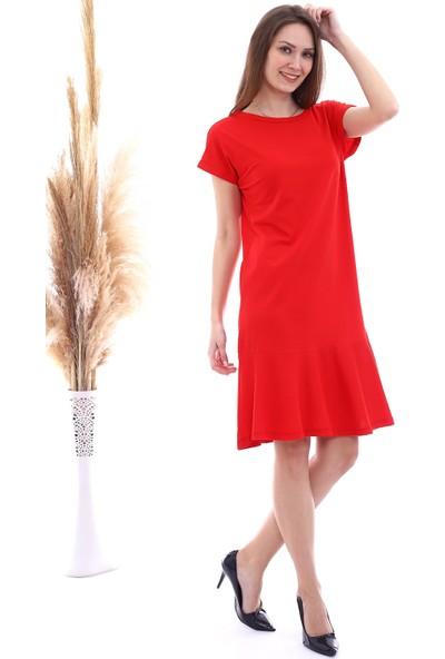 Cotton Mood 20063126 Süprem Eteği Volanlı Kısa Kol Elbise Kırmızı