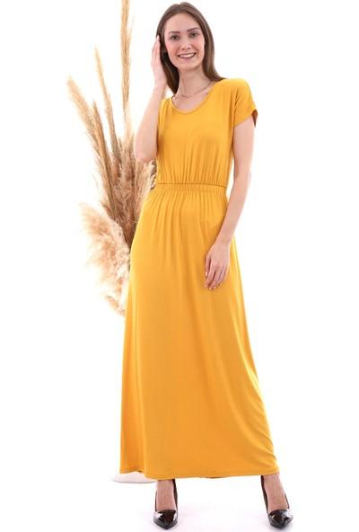 Cotton Mood 8222252 Viskon Beli Lastikli Yarasa Kol Uzun Elbise Hardal
