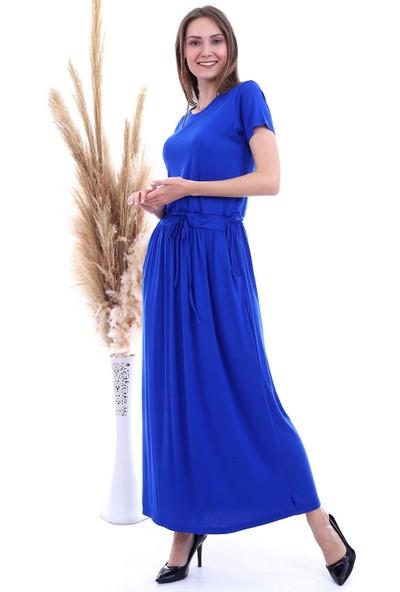 Cotton Mood 8282826 Viskon Cepli Beli Bağcıklı Cepli Uzun Elbise Saks