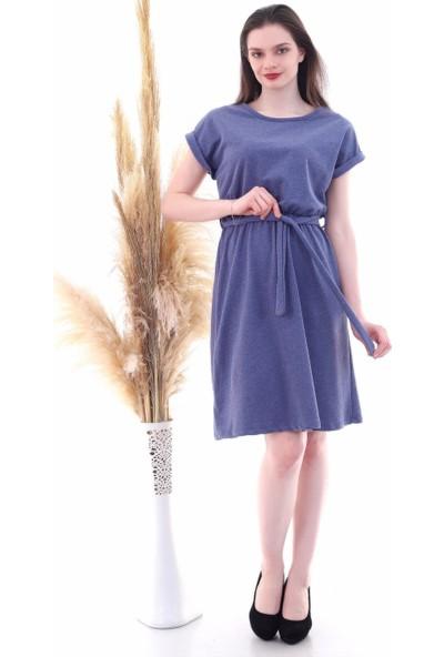 Cotton Mood 9292931 Ikiiplik Beli Lastikli Yarasa Kol Elbise Indgo