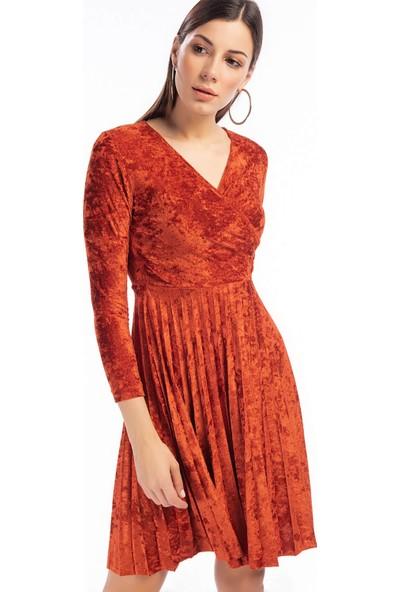 Cotton Mood 9391407 Kadife Eteği Pliseli Kruvaze Yaka Elbise Kıremıt