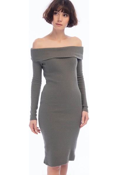 Cotton Mood 9424312 Kalın Lyc.kaşkorse Omuzu Düşük Uzun Kol Elbise Hakı
