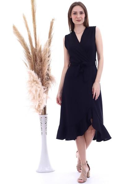 Cotton Mood 20060654 Örme Krep Kruvaze Yaka Eteği Volanlı Kolsuz Elbise Siyah