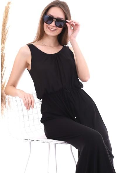 Cotton Mood 20060671 Viskon Beli Lastikli Yaka Büzgülü Kolsuz Uz. Elbise Siyah