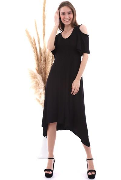 Cotton Mood 20060672 Viskon Omuzu Açık Kısa Kol Salash Çan Elbise Siyah