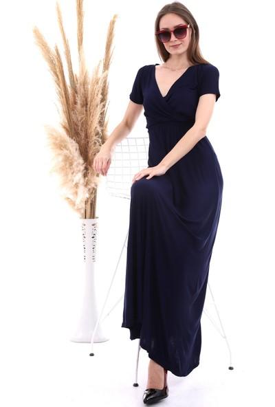 Cotton Mood 20060673 Viskon Beli Lastikli Kruvaze Yaka Kısa Kol Elbise Lacivert