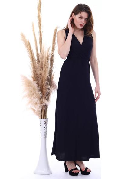 Cotton Mood 20060674 Viskon Beli Lastikli Kruvaze Yaka Kolsuz Uzunelbise Siyah