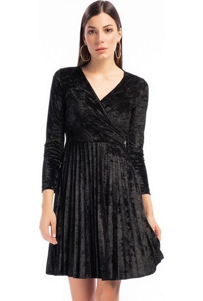 Cotton Mood 9391407 Kadife Eteği Pliseli Kruvaze Yaka Elbise Siyah