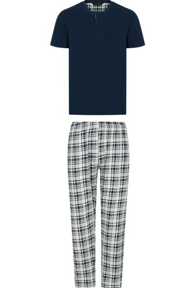 Penti Lacivert Navy Checky Ss Pijama Takımı