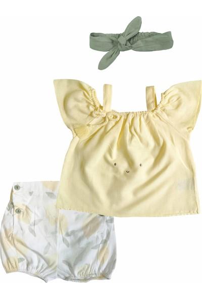 Bbx Şortu Düğme Detaylı Bandanalı Bebek Takım