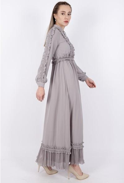 Pumane 12136 Kadın Eteği Fırfırlı Elbise 20Y