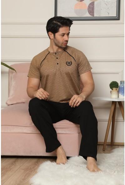 Pijama Evi Kahverengi Düğme Detaylı Kısa Kollu Erkek Pijama Takımı