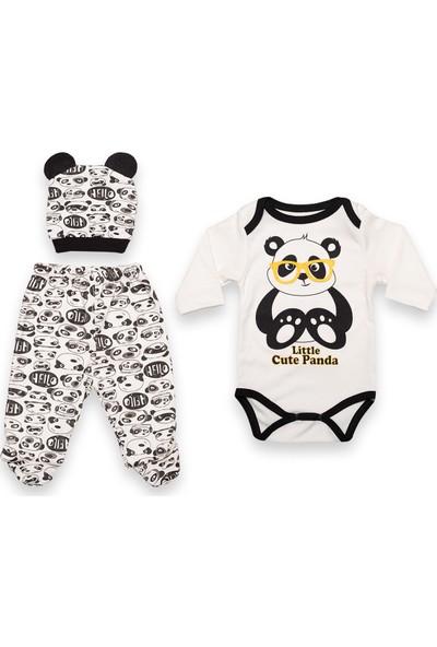Güneş Bebe Panda Baskılı Body 3'lü Takım