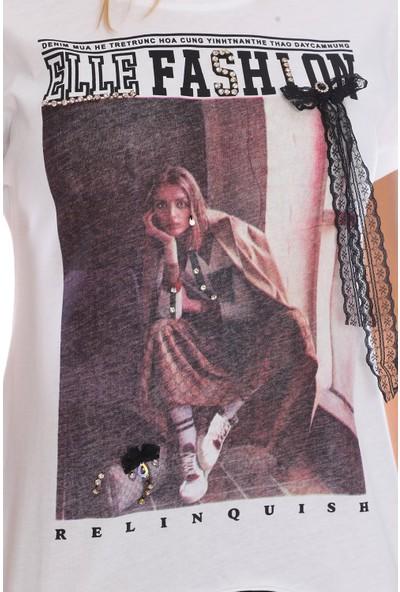 Alışveriş Sokağı Yazı ve Resim Baskılı, Taş Detaylı Salaş Kadın Tişört
