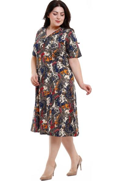Bessima V Yaka Yarım Kol Büyük Şal Desen Penye Elbise