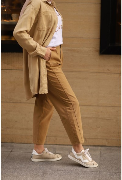 Magazin Kemerli Yüksek Bel Pantolon Latte -MGZ2610