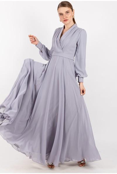 Puane Pileli Şifon Elbise Astarlı Gül -PN12142