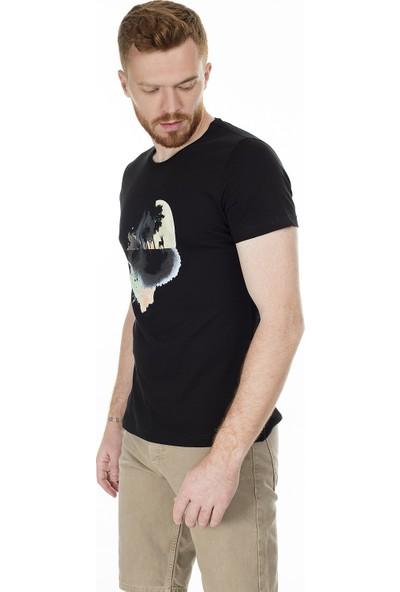 Buratti Baskılı Bisiklet Yaka Slim Fit Erkek T-Shirt Aby38109Lns