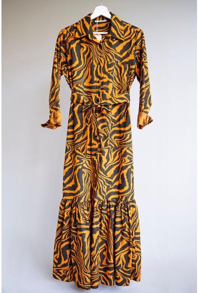 Sue Store Zebra Desen Gömlek Elbise