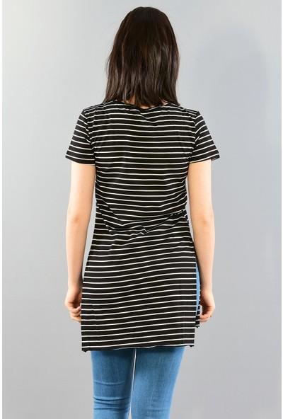 Modaplaza Kadın V Yaka Yanları Yırtmaçlı Siyah Beyaz Çizgili Tunik