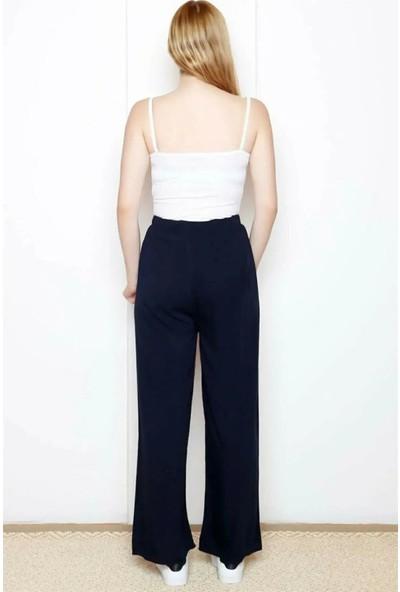 Bağdat Caddesi Kadın Bol Paça Bel Lastikli Kemerli Salaş Pantolon