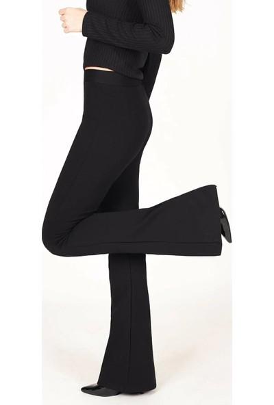 Bağdat Caddesi Kadın Siyah Ispanyol Paça Tayt Pantolon