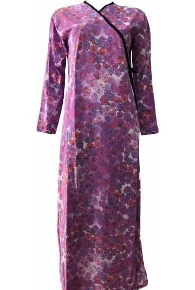 Hazal Namaz Elbisesi Lila Batik Çiçek Desen Bağlamalı Model