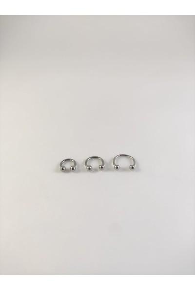 Takıparkxs 316L Cerrahi Çelik Üçlü Set 6-8-10MM Top Uçlu Gümüş Gri Septum Piercing