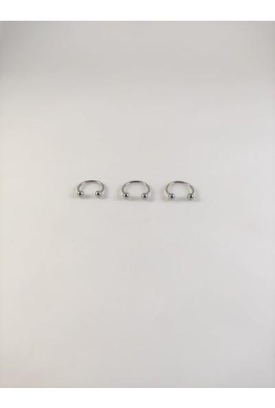 Takıparkxs 316L Cerrahi Çelik Üçlü Set 10MM Top Uçlu Gümüş Gri Septum Piercing