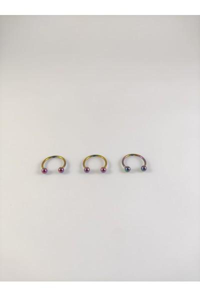Takıparkxs 316L Cerrahi Çelik Üçlü Set 10MM Top Uçlu Rainbow Septum Piercing