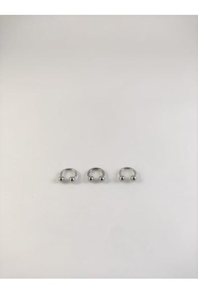 Takıparkxs 316L Cerrahi Çelik Üçlü Set 6 mm Top Uçlu Gümüş Gri Septum Piercing