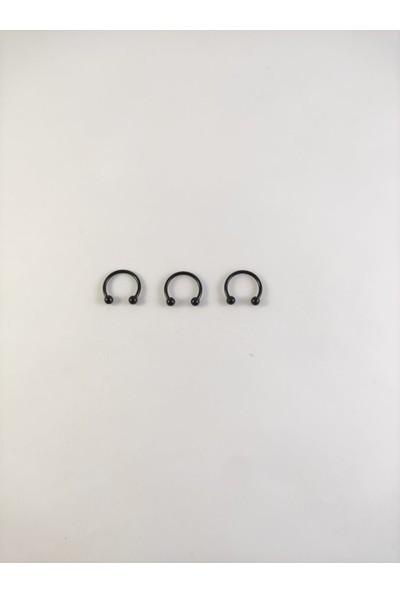 Takıparkxs 316L Cerrahi Çelik Üçlü Set 10 mm Top Uçlu Siyah Septum Piercing