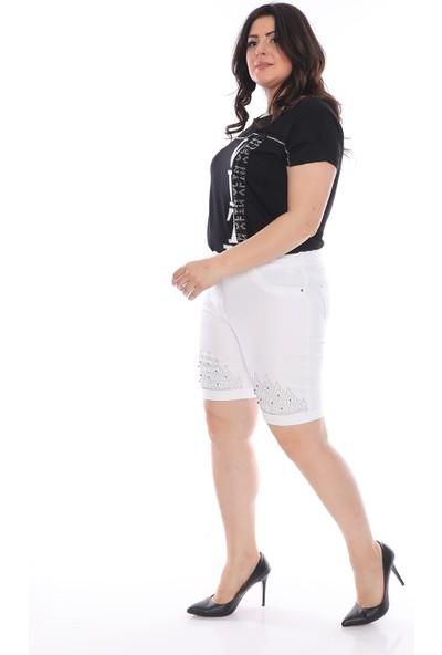 Pangos Fashion Büyük Beden Beyaz Şort Paça Taşlı