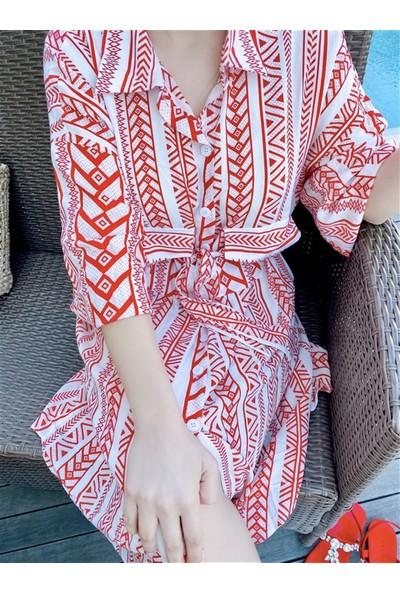 Oblavion Kadın Etnik Desen Kırmızı Gömlek Elbise