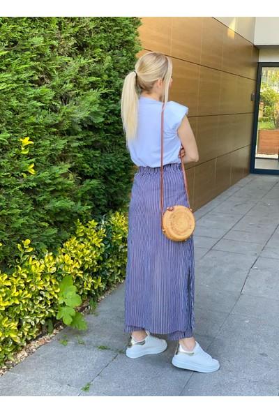 Oblavion Kadın Lacivert Çizgili Pantolon Etek