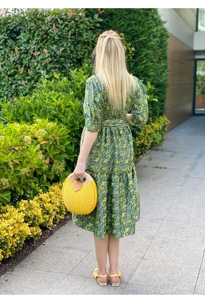 Oblavion Kadın Yeşil Çiçek Desenli Midi Boy Elbise