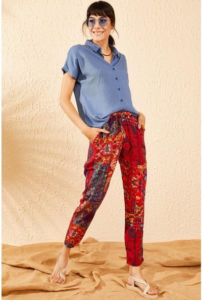 Bianco Lucci Kadın Beli Lastikli Multi Desenli Cepli Rahat Pantolon
