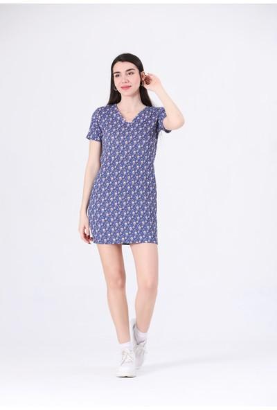 Canela V Yaka Çiçekli Mavi Elbise