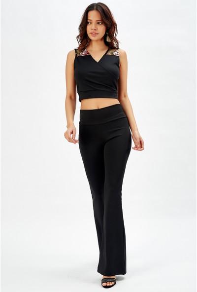 Sense Siyah Yuksek Belli Dalgıç Ispanyol Paca Pantolon