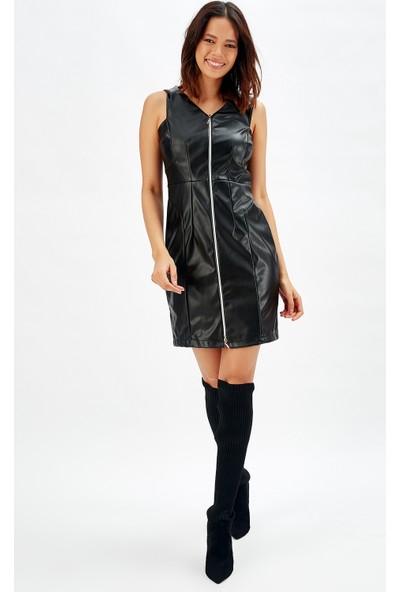 Sense Siyah Önü Fermuarlı Deri Abiye Elbise
