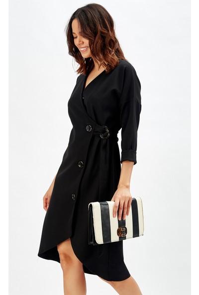 Sense Siyah Düğmeli Ofis Elbisesi
