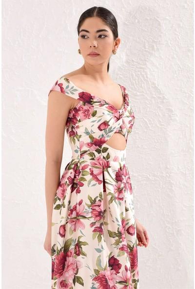 Setre Gül Kurusu Düşük Kol Pencereli Volan Etek Diz Altı Floral Elbise