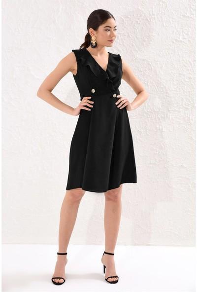 Setre Siyah V Yaka Fırfırlı Kruvaze Metal Düğmeli Volan Elbise