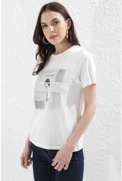 Setre Ekru Bisiklet Yaka Baskılı Kısa Kol T-Shirt