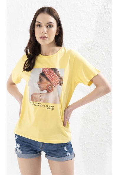 Setre Sarı Bisiklet Yaka Baskılı Kısa Kol Pamuk T-Shirt