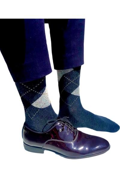 Tampap 12'li Paket Ekonomik Ekose Desen Pamuklu Erkek Çorap