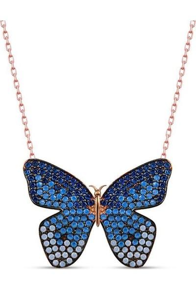 Gümüş Mavi Nano Taşlı Kelebek Kolye