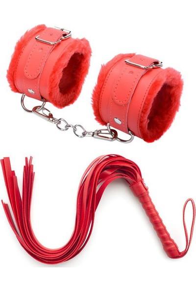 My Passion Kırmızı Deri Kırbaç Kelepçe Set