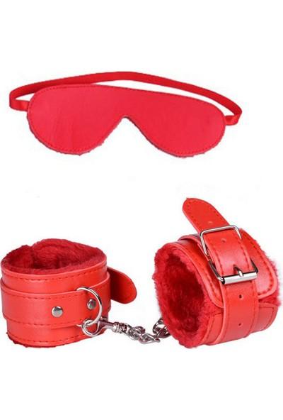 My Passion Kırmızı Deri Kelepçe Maske Set